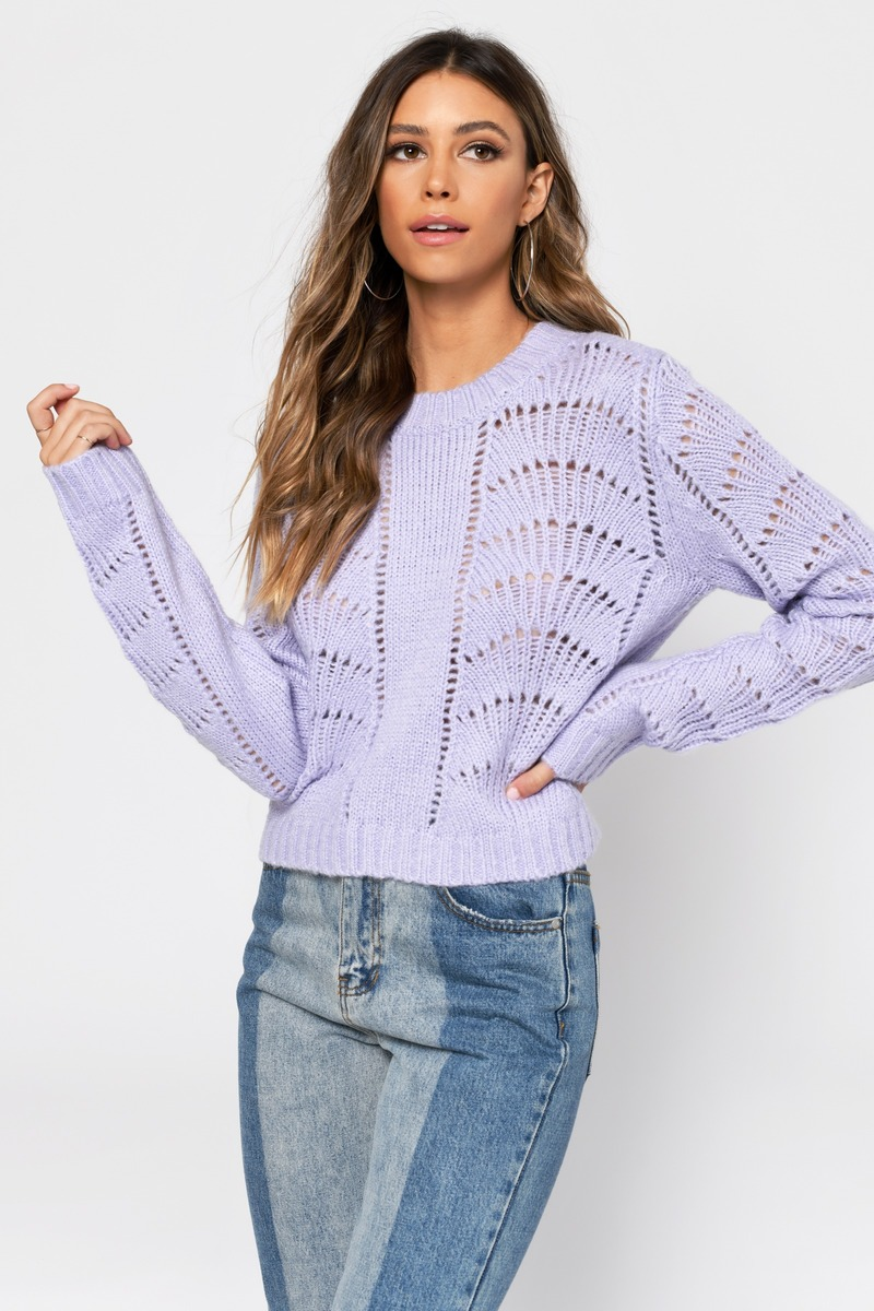 497b975d839d50 Lavender Sweater - Cropped Sweater - Lavender Knit Sweater -  32 ...