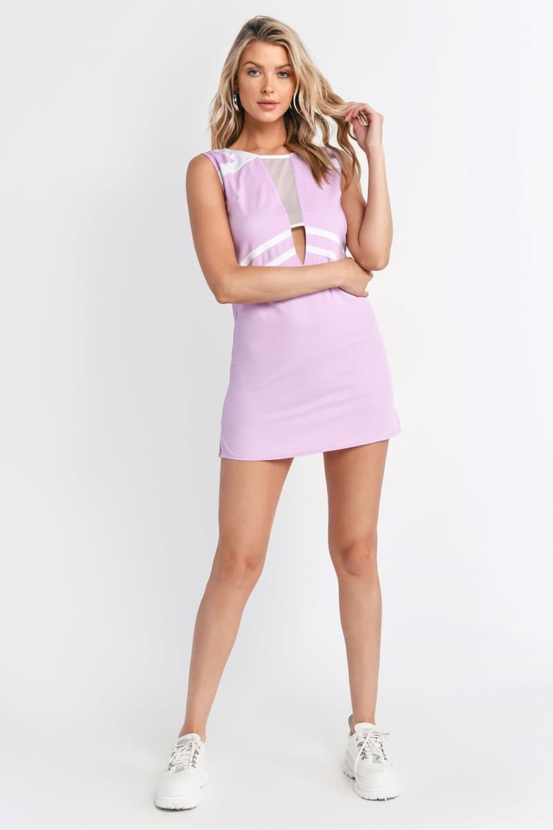 Lavender & White Shift Dress - Purple Dress - Mini Dress - Shift ...