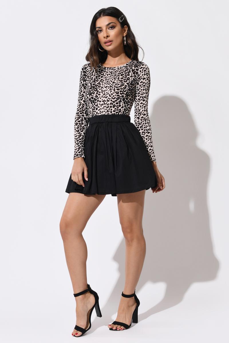 Katerina Leopard & Black Leopard Print Skater Dress