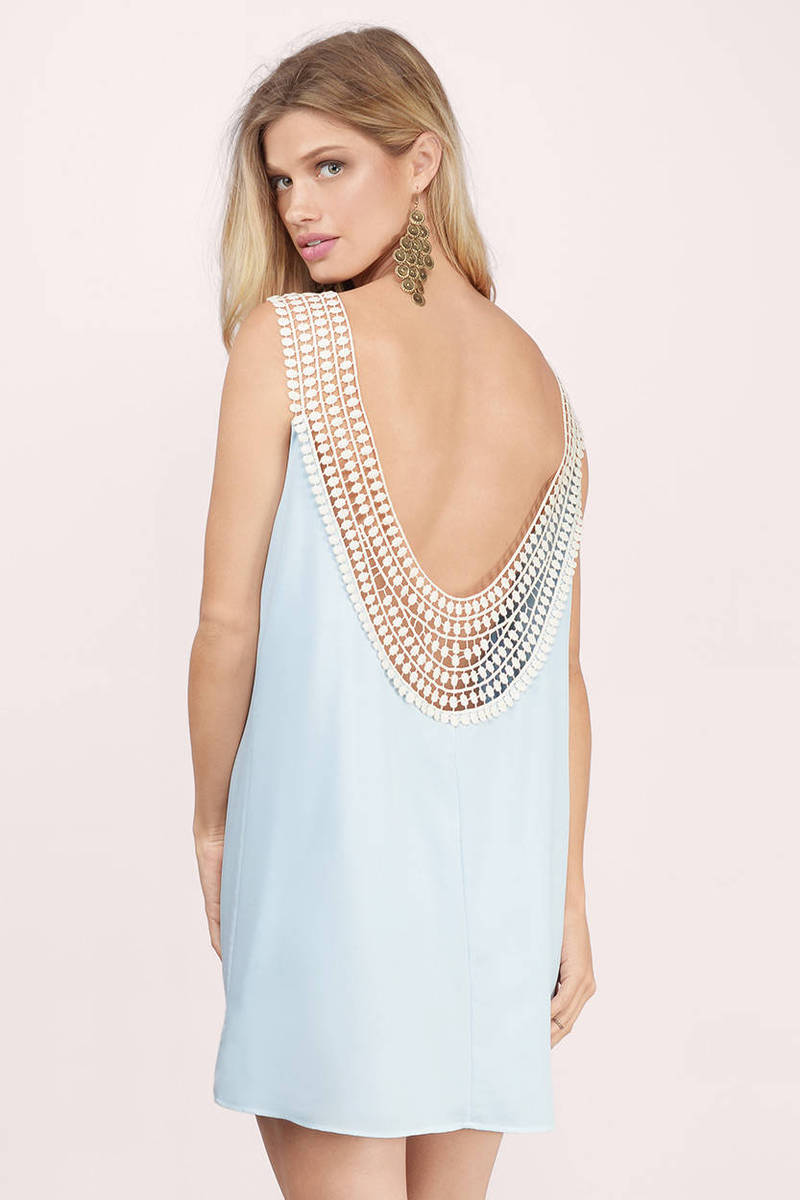 Back Story Light Blue Crochet Shift Dress