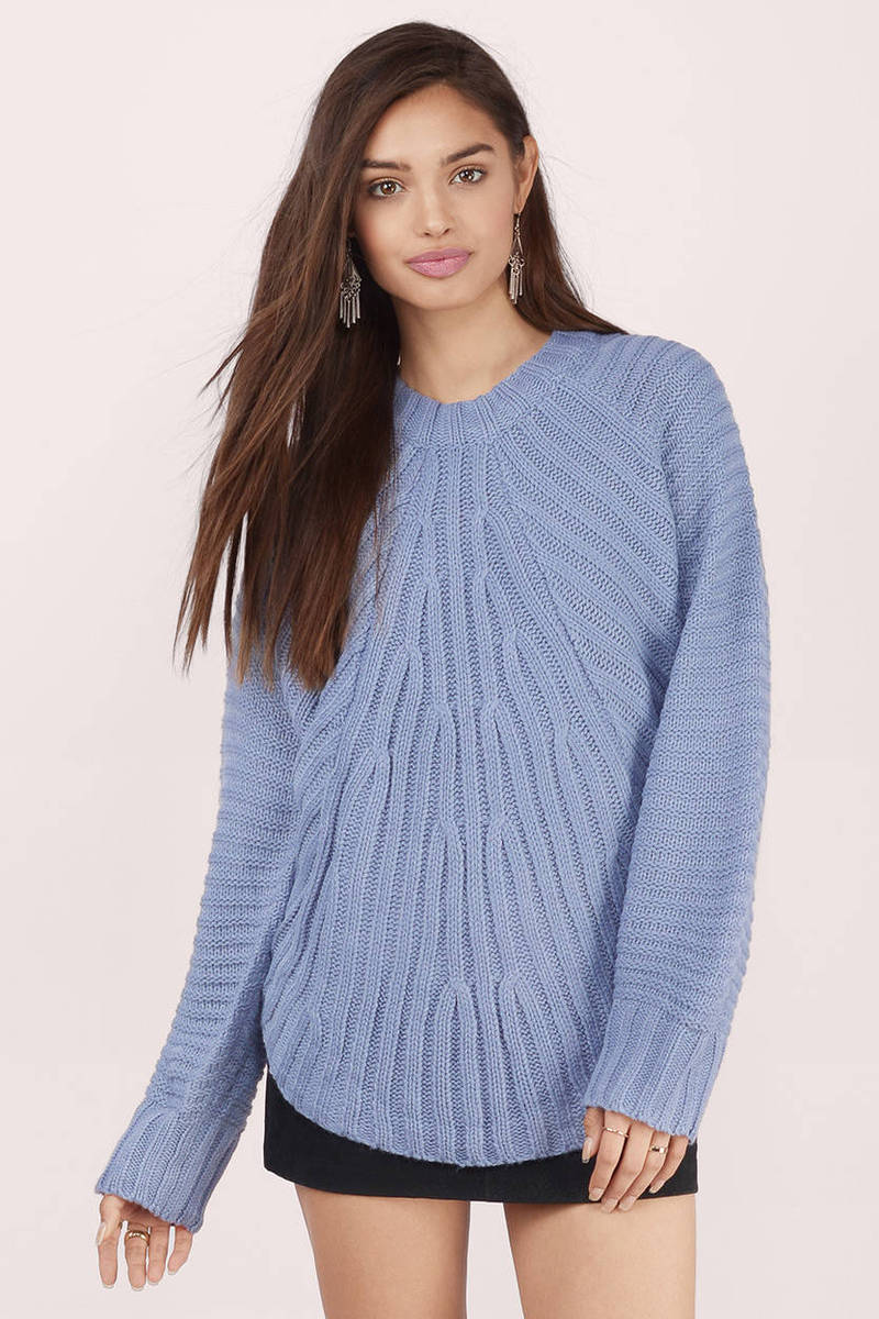 Light Blue Sweater - Blue Sweater - Knitted Sweater - $21 | Tobi US
