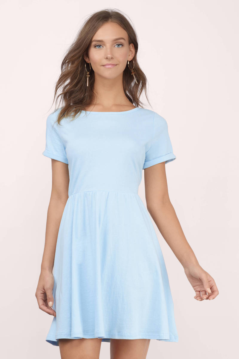 f26b436af48d Cute Light Blue Skater Dress - Above The Knee Dress - Skater Dress ...