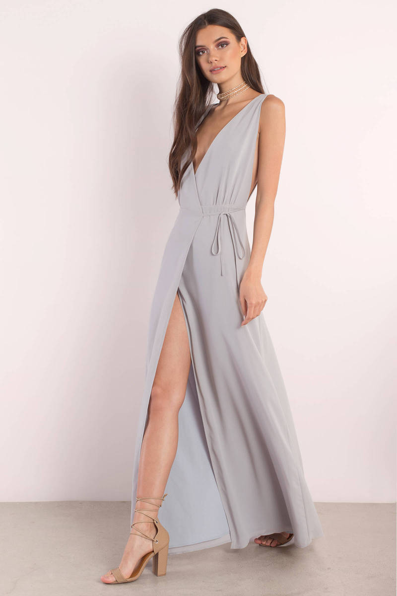 Dream Away Rose Plunging Maxi Dress