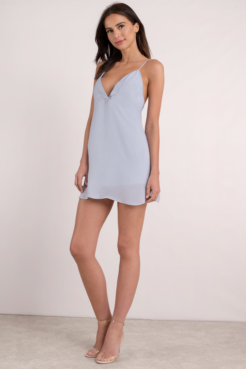 bab83641d94ce Sexy Blue Shift Dress - Cami Slip Dress - Blue Low Back Dress ...