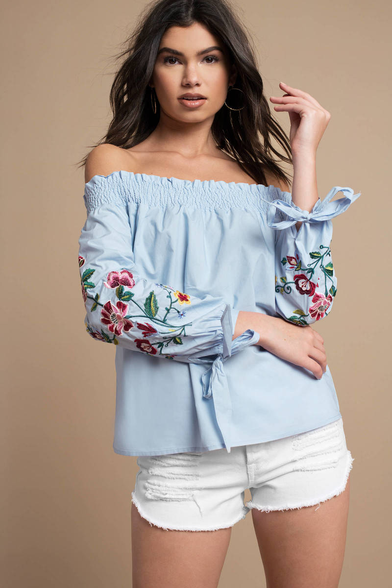 6519bafe20d79 Blue Blouse - Joa Off Shoulder Blouse - Blue Floral Print Blouse ...