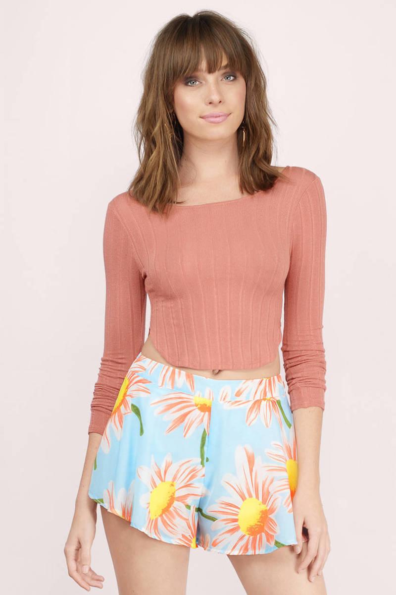 Light Blue Floral Shorts - Flowy Shorts - Daisy Shorts - Blue ...