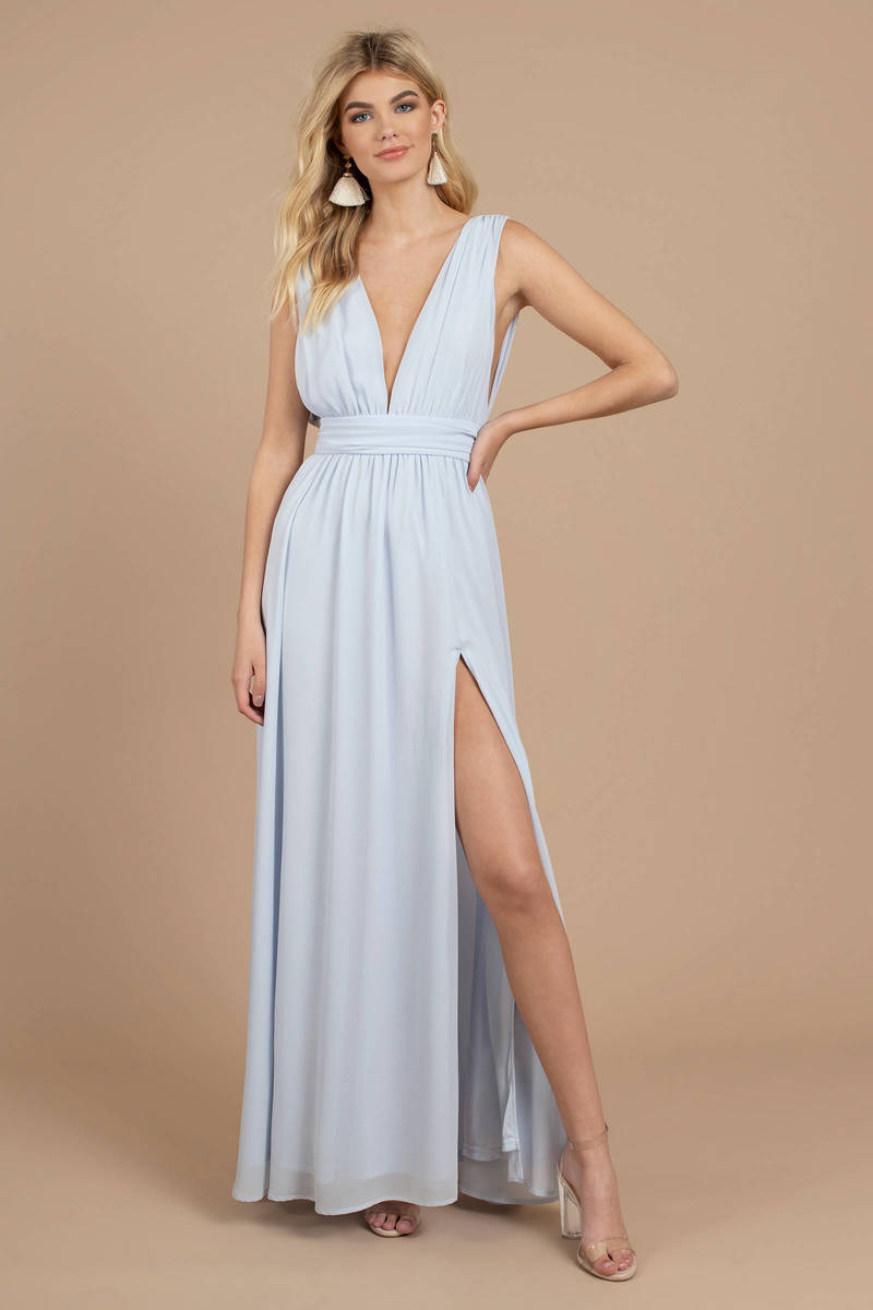 f9886290 Light Blue Maxi Dress - High Slit Maxi Dress - Light Blue Plunge ...