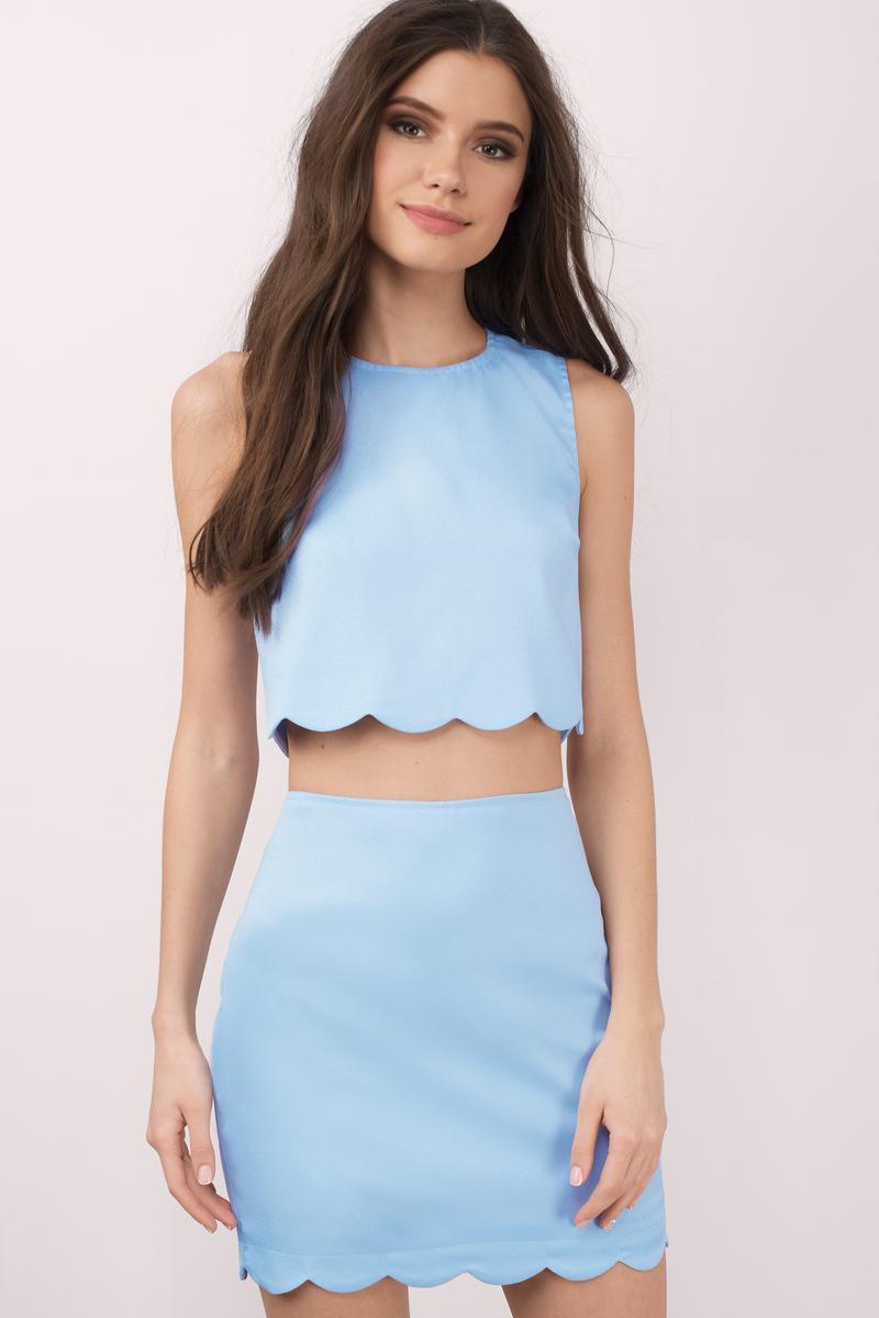 4cd9594e10 Light Blue Dress - Scalloped Dress - Two Piece Midriff Dress ...