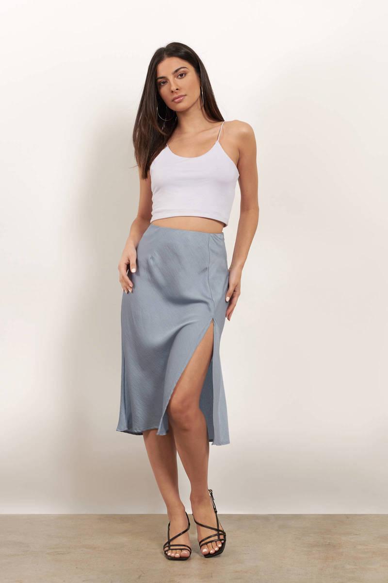 Give In Satin Slit Midi Skirt