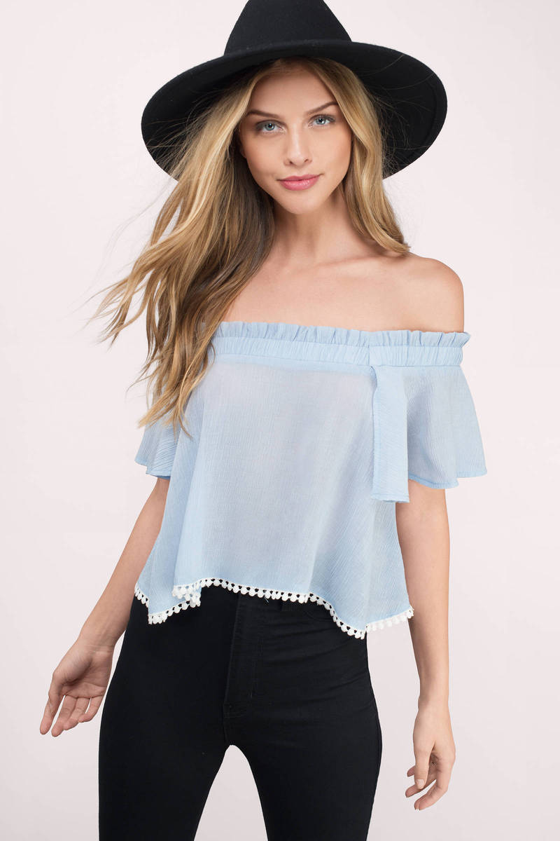 trendy light blue crop top blue top off shoulder top. Black Bedroom Furniture Sets. Home Design Ideas