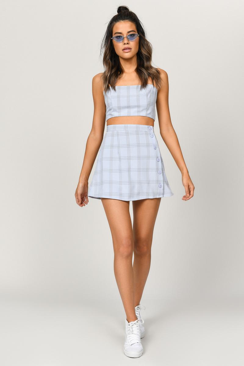 Blue Skirt Side Button Skirt Blue Plaid Skater Skirt 29 Tobi Us