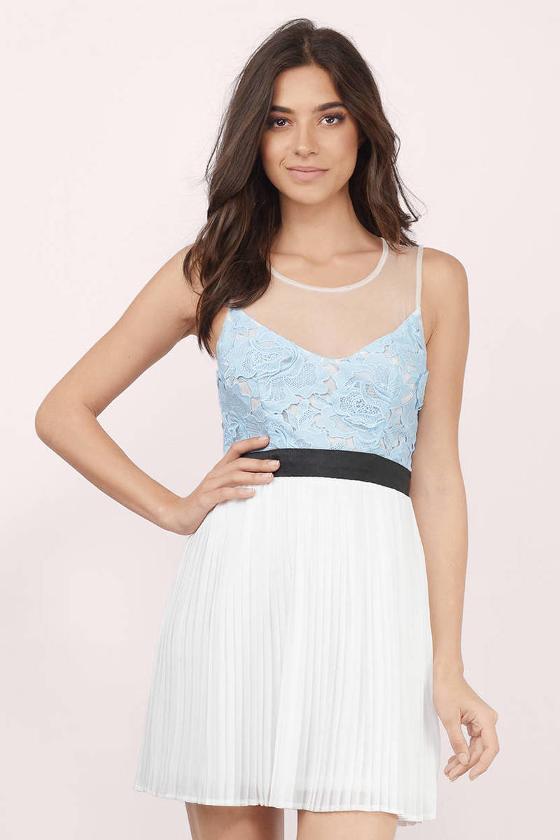 Twist Of Fate Light Blue & Ivory Sheer Lace Skater Dress