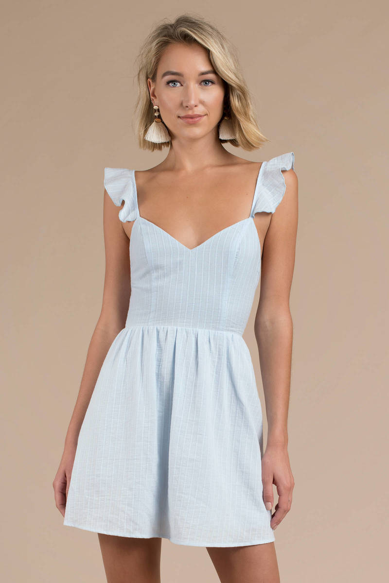 29ef1425dcd5 Blue Skater Dress - Ruffle Strap Dress - Light Blue A Line Dress ...