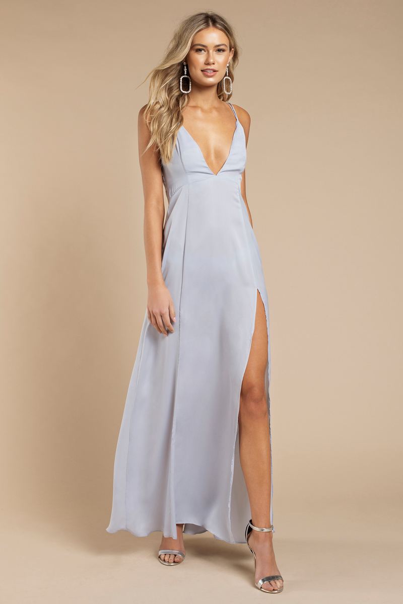 Dusty Blue Maxi Dress - Strappy Maxi Dress - Dusty Blue Gown - $35 ...