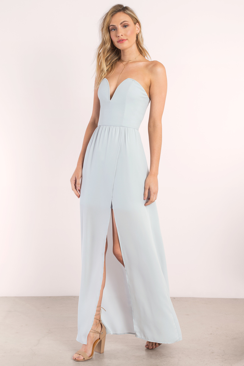 Sweetheart Maxi Dress - Light Blue Maxi Dress - Blue Strapless ...