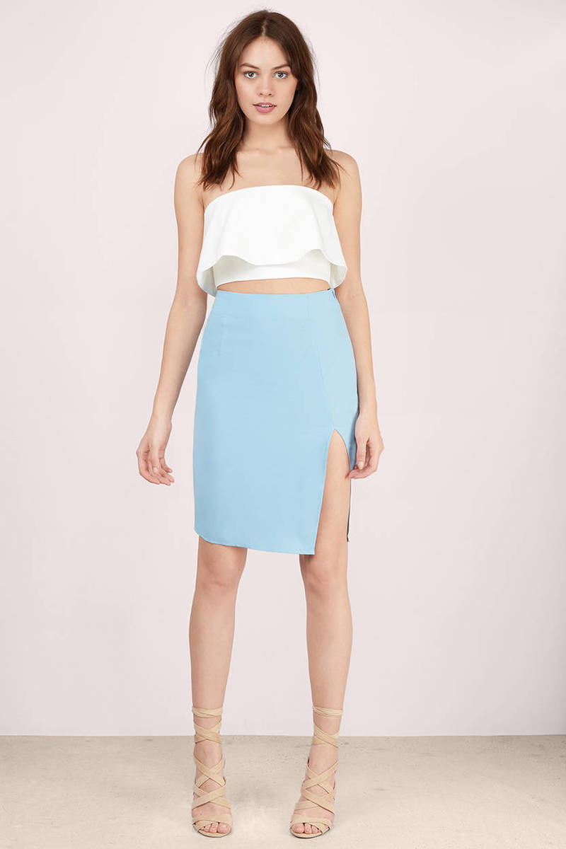 cute light blue skirt blue skirt angled seam skirt