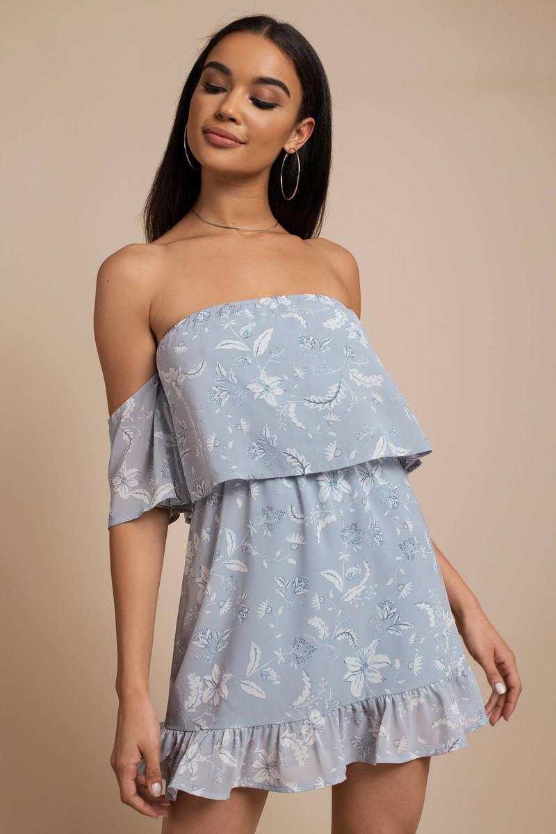 cf16418d85df Cute Light Blue Casual Dress - Off Shoulder Dress - Light Blue ...