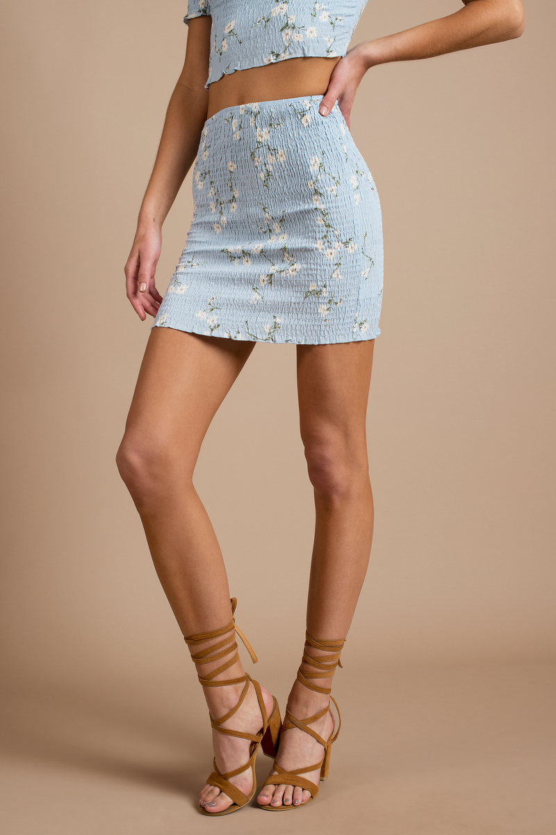 Wildflower Light Blue Multi Mini Skirt