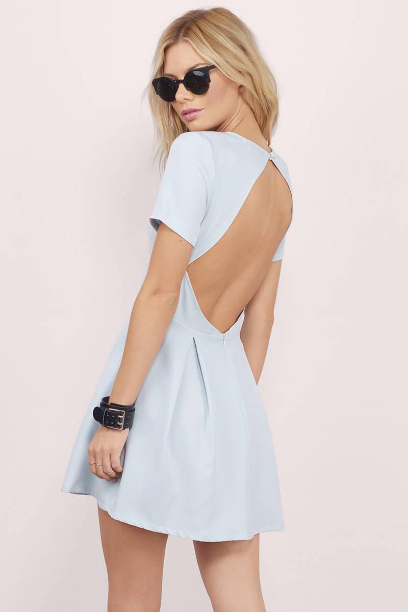 5c48aba49b20 Sexy Light Blue Skater Dress - Backless Dress - Skater Dress -  24 ...