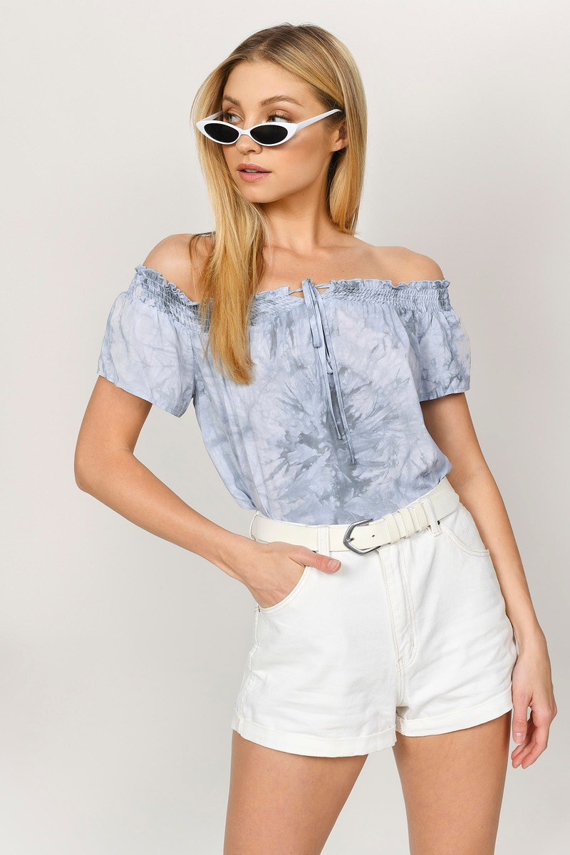b8abb81268b Light Blue Blouse - Off Shoulder Blouse - Smocked Off The Shoulder ...