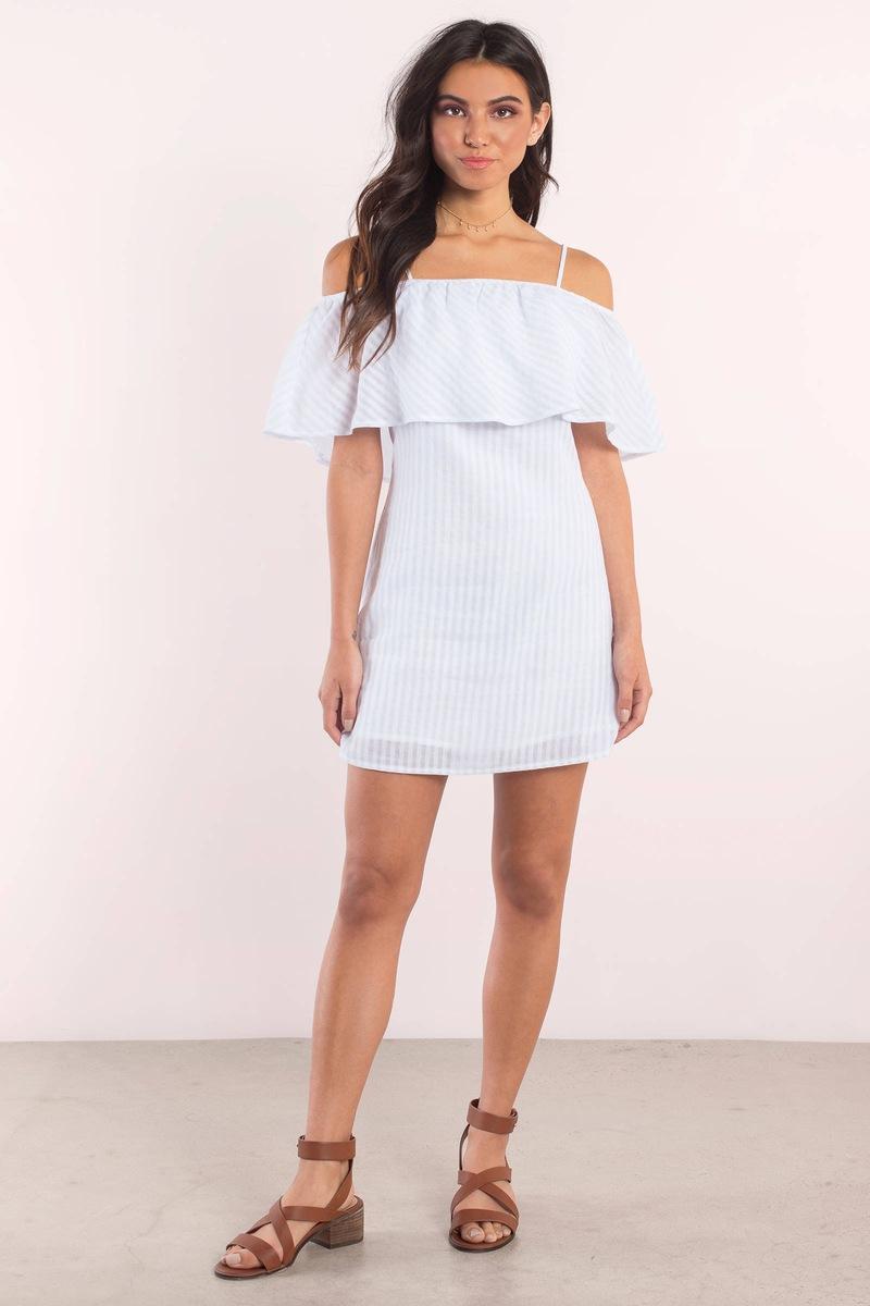 Sandra Light Blue Striped Shift Dress