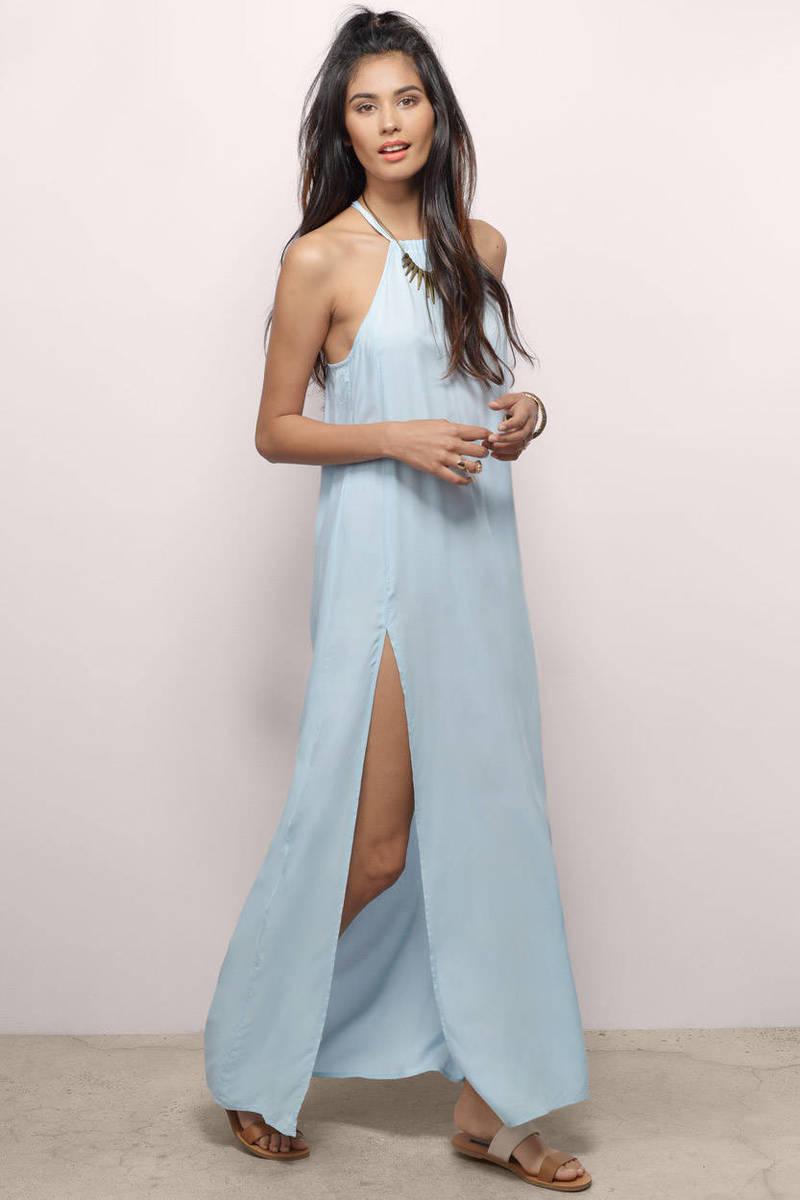 Light blue maxi dress with slit