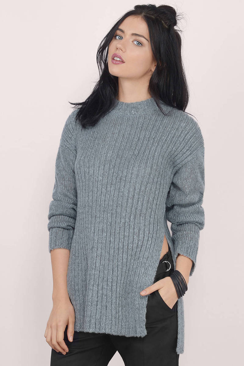 Splitting Sides Ribbed Sweater