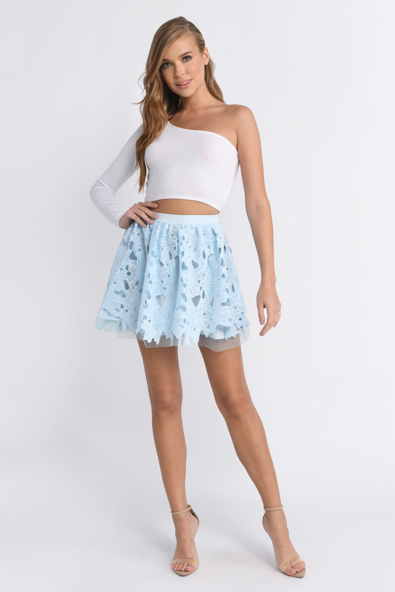 455ed965f222 Blue Skirt - Lace Skirt - Pleated Blue Skirt - Light Blue Skirt ...