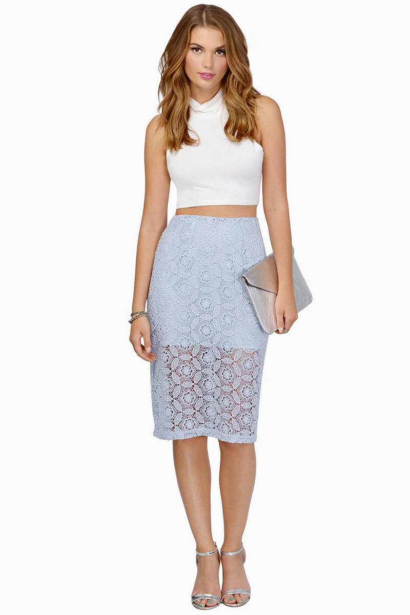Vivienne Light Blue Crochet Midi Skirt
