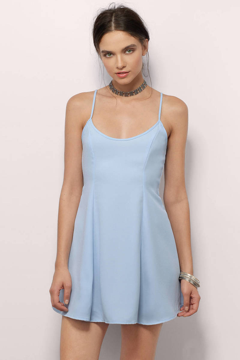 Winking Back At You Light Blue  Skater Dress