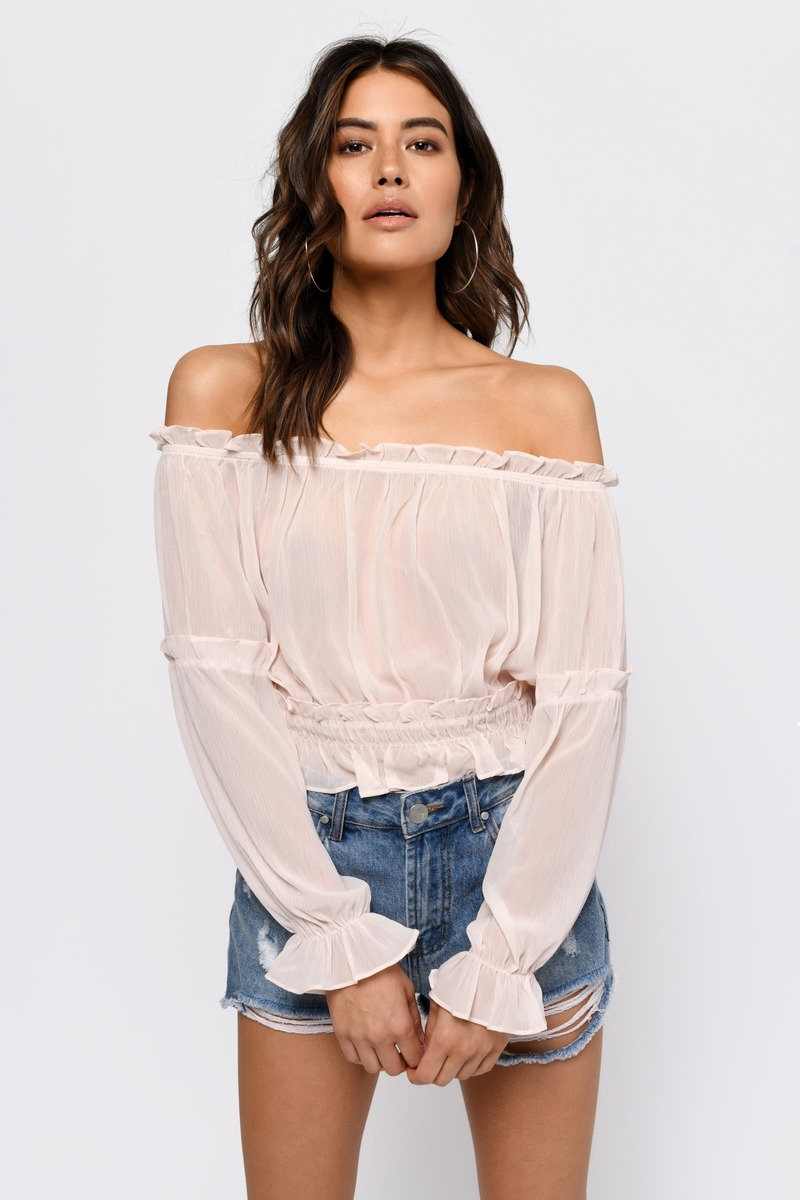 157717fffe6b3 Blush Pink Blouse - Loose Crop Top - Blush Off Shoulder Crop Top ...