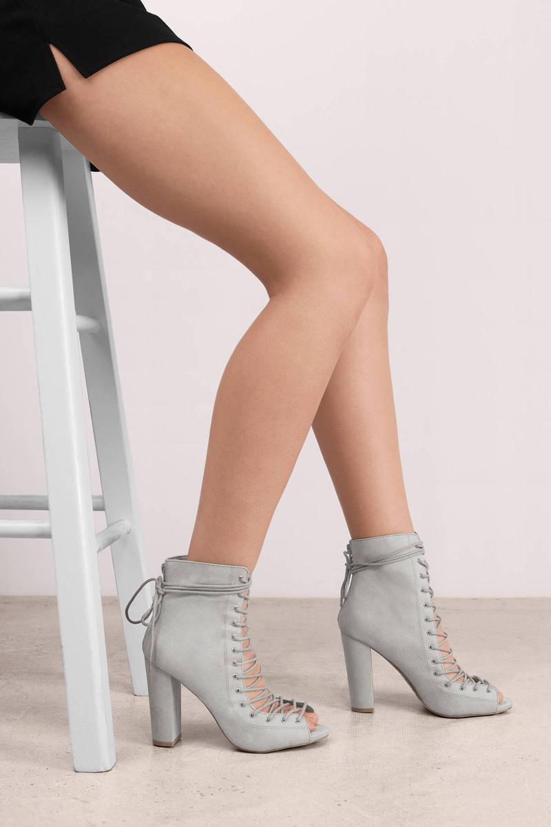 Let You Go Light Grey Suede Heels
