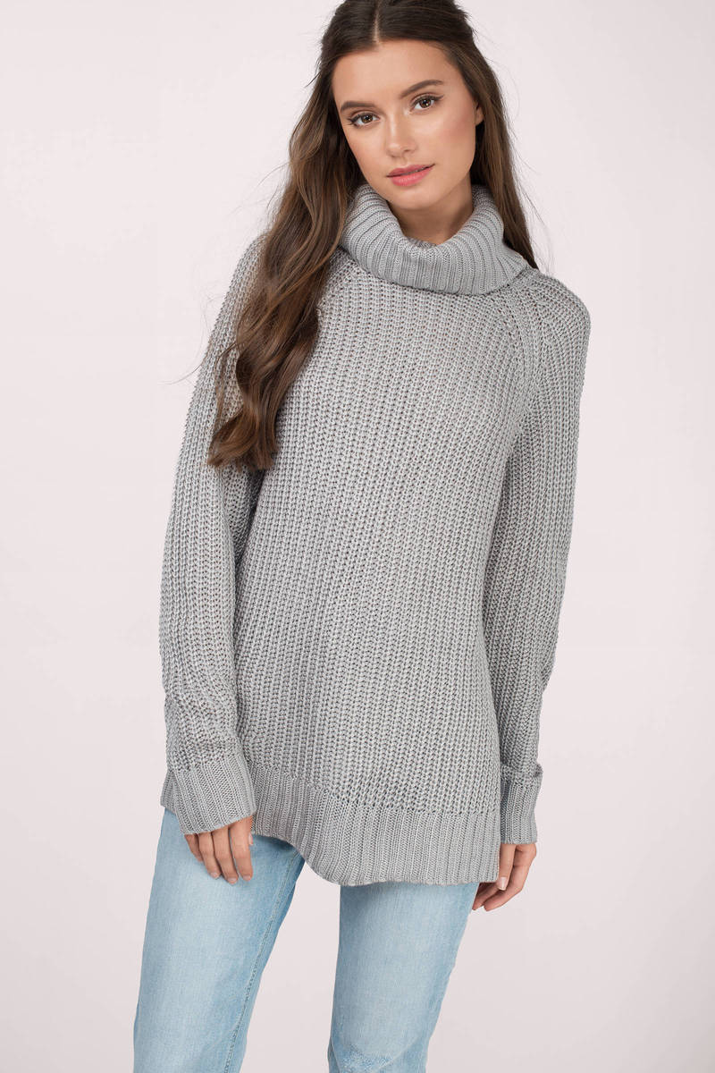 Light Grey Sweater - Turtleneck Sweater - A Line Sweater - $21 ...
