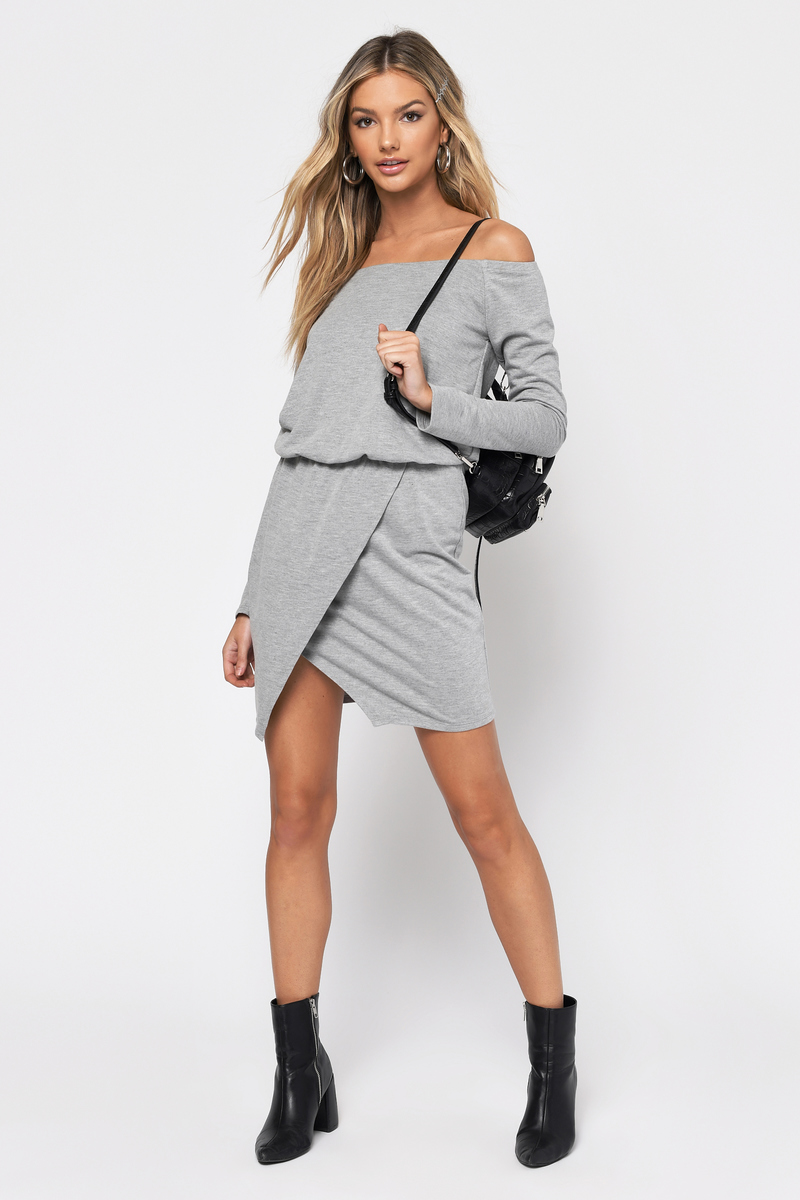 Trendy Light Heather Grey Day Dress - Off Shoulder Dress - Day Dress ... f24235141