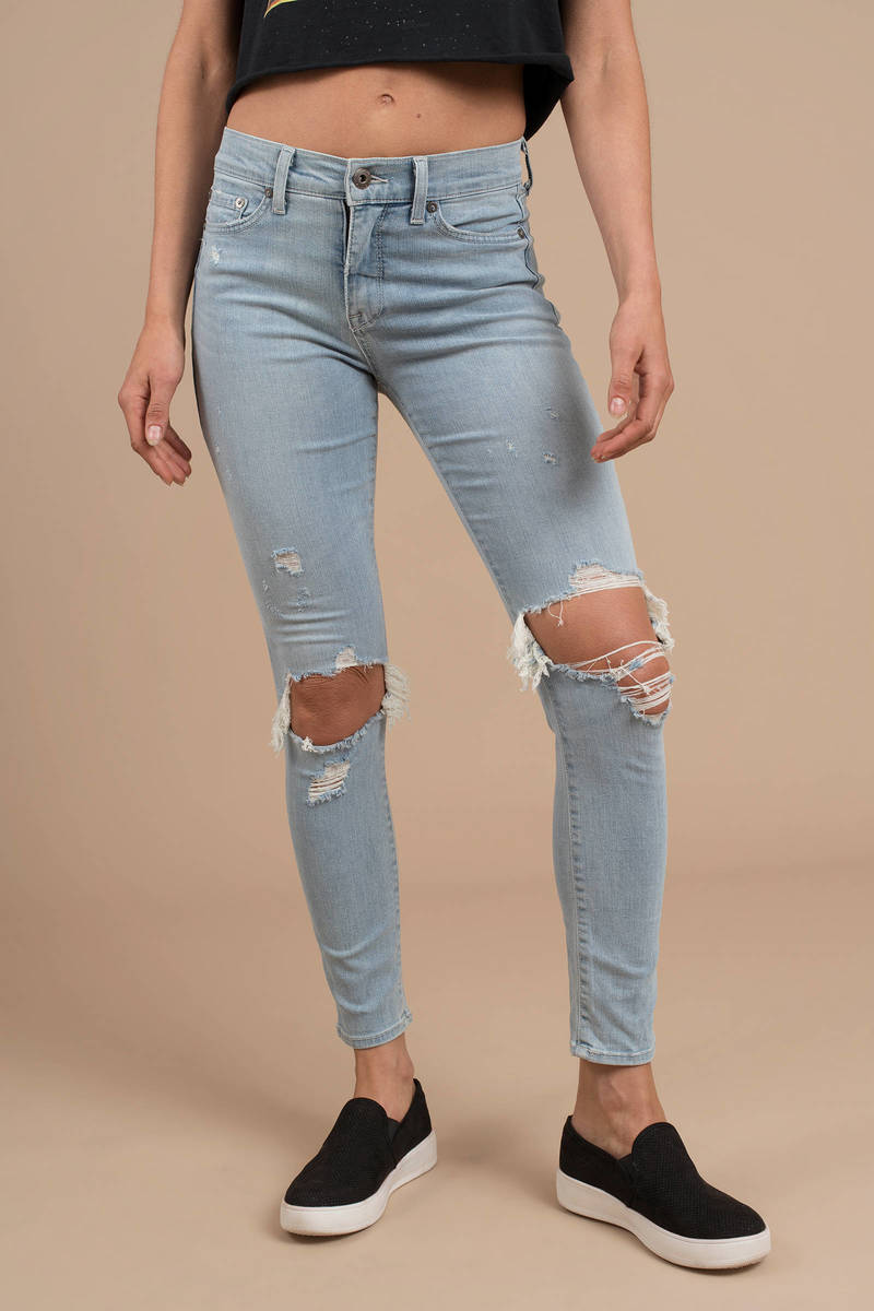 be2c5085521 Blue Pistola Pants - Knee Rip Jeans - Blue High Waisted Jeans -  98 ...
