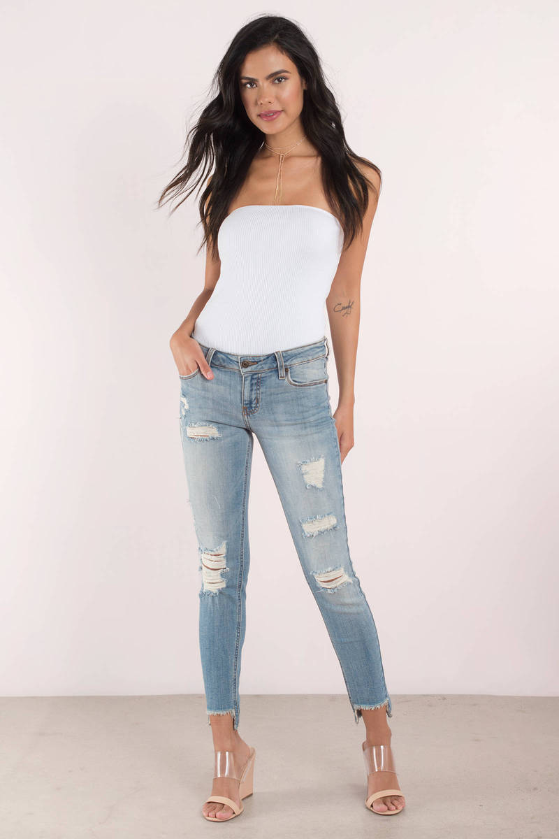 Back It Up Light Wash Low Rise Step Jeans