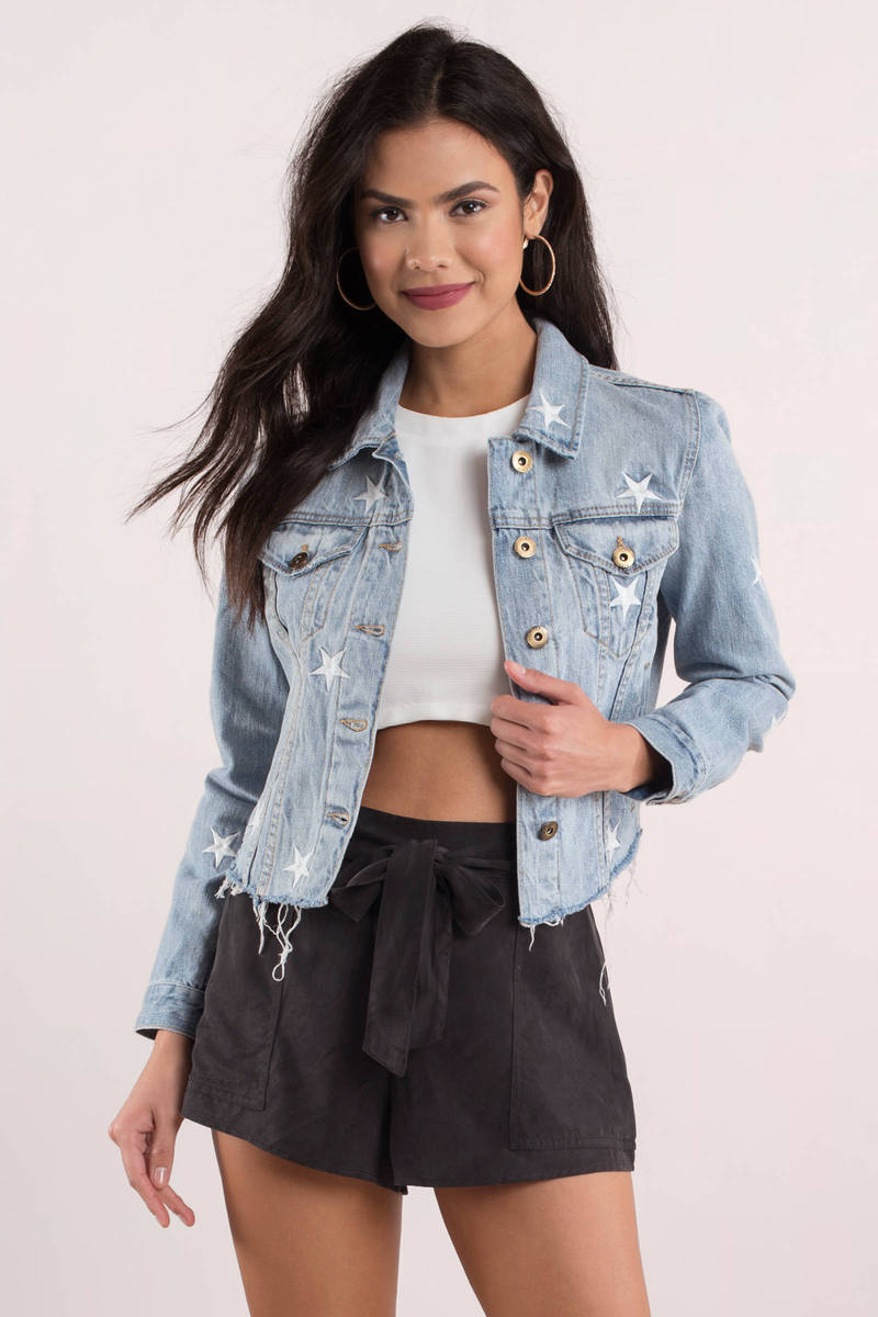 Good Prices variety design wholesale sales Brando Cropped Denim Jacket