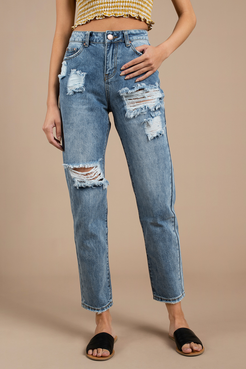 c8e00c1f Blue Jeans - High Waisted Casual Jeans - Blue Thigh Ripped Jeans ...