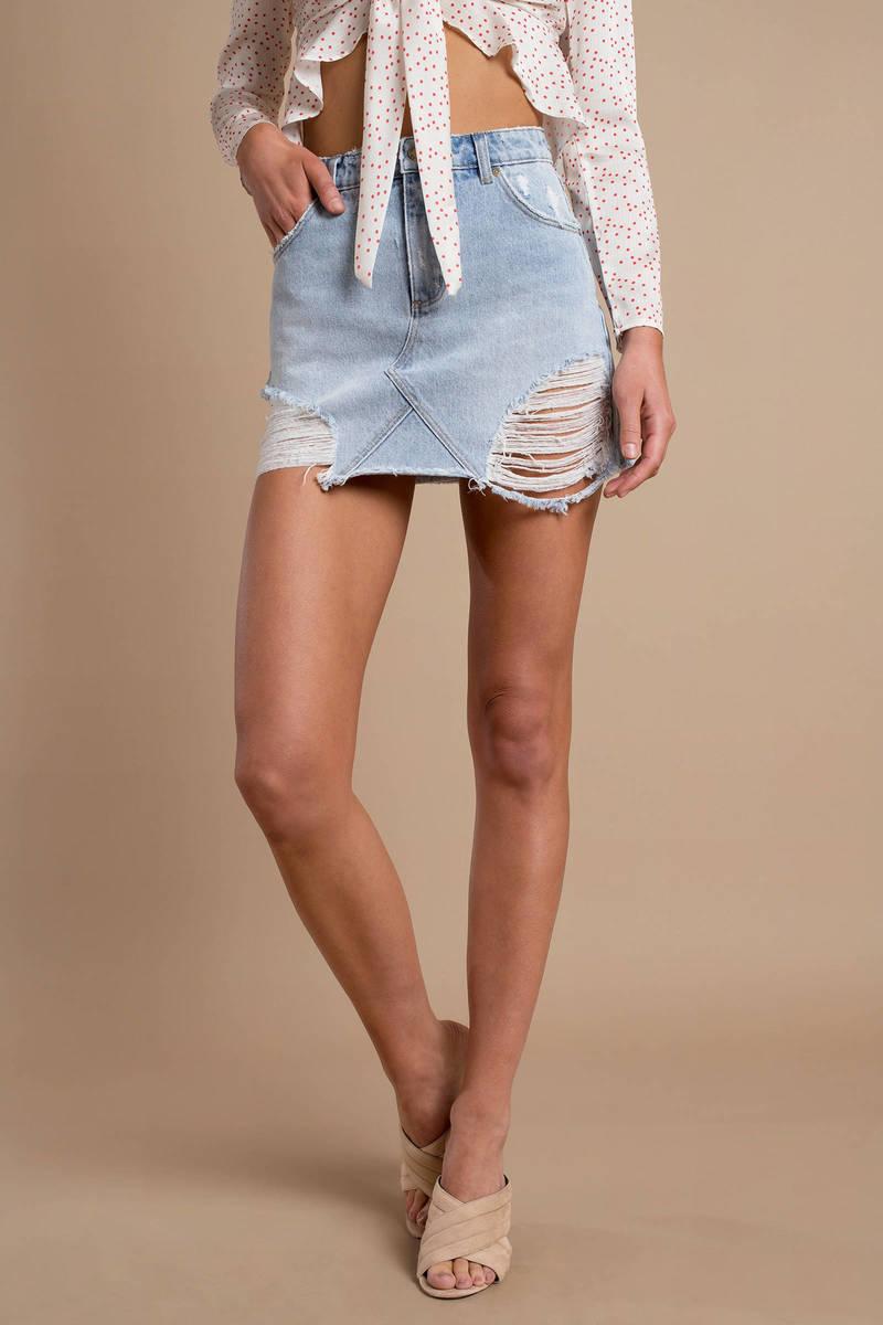 e12e7b26f3 Blue Denim Skirt - Casual Distressed Skirt - Blue Ripped Denim Skirt ...