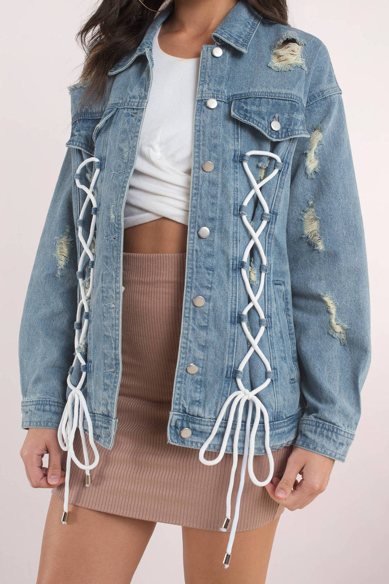 Trendy Light Wash Jacket Lace Up Jacket Blue Jacket