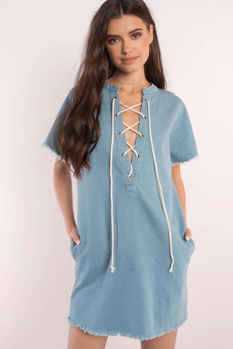 Cristina Light Wash Denim Day Dress