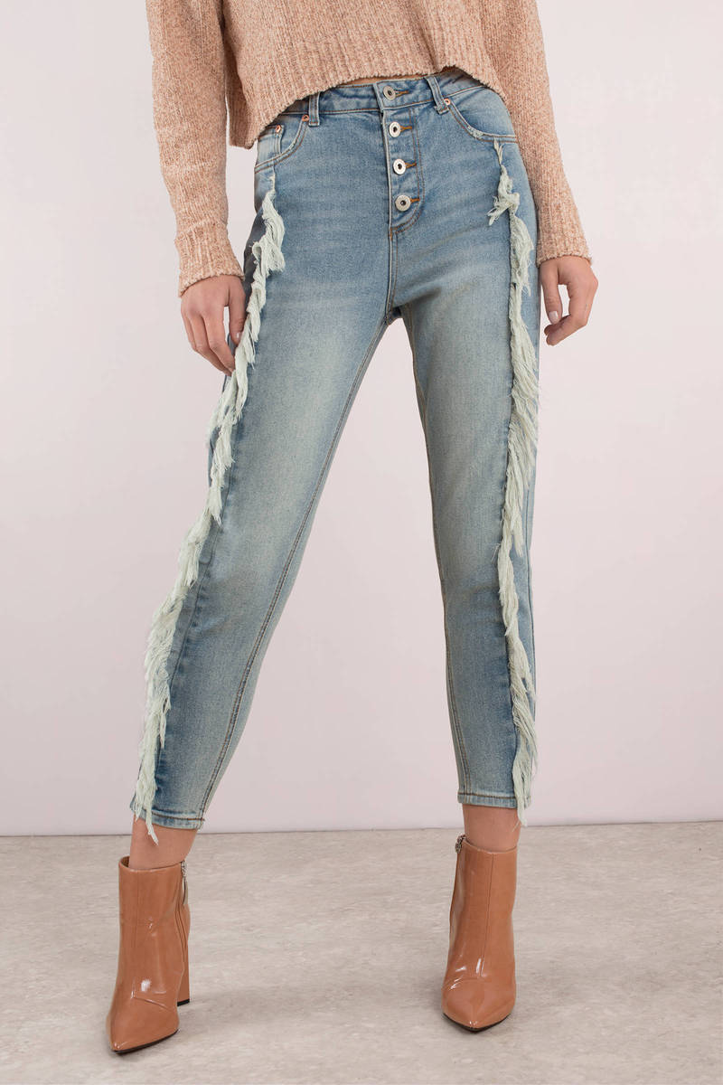 b9831f81eb Trendy Blue Jeans - Button Up Jeans - Cropped Light Blue Jeans -  31 ...