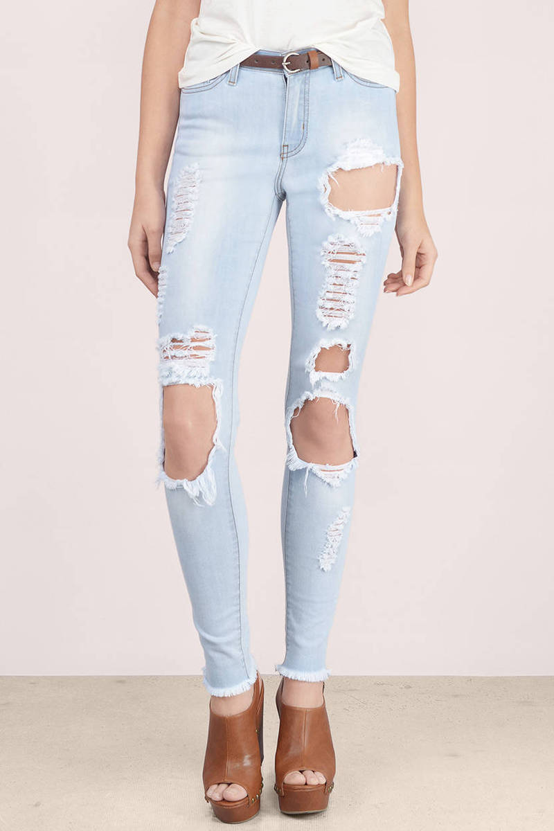 Light Wash Denim Jeans - Blue Jeans - Skinny Jeans - $88.00