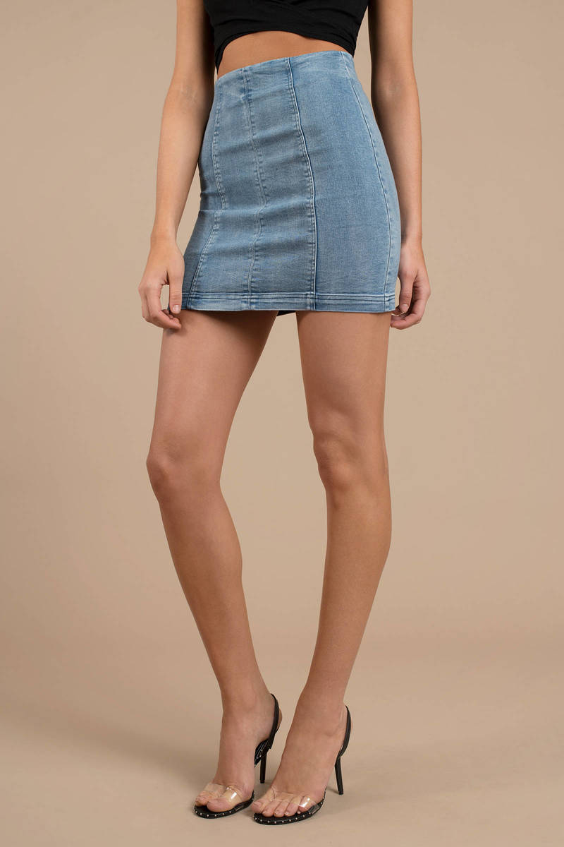 70c306a26f Blue Skirt - High Waisted Skirt - Blue Denim Skirt - Bodycon Skirt ...
