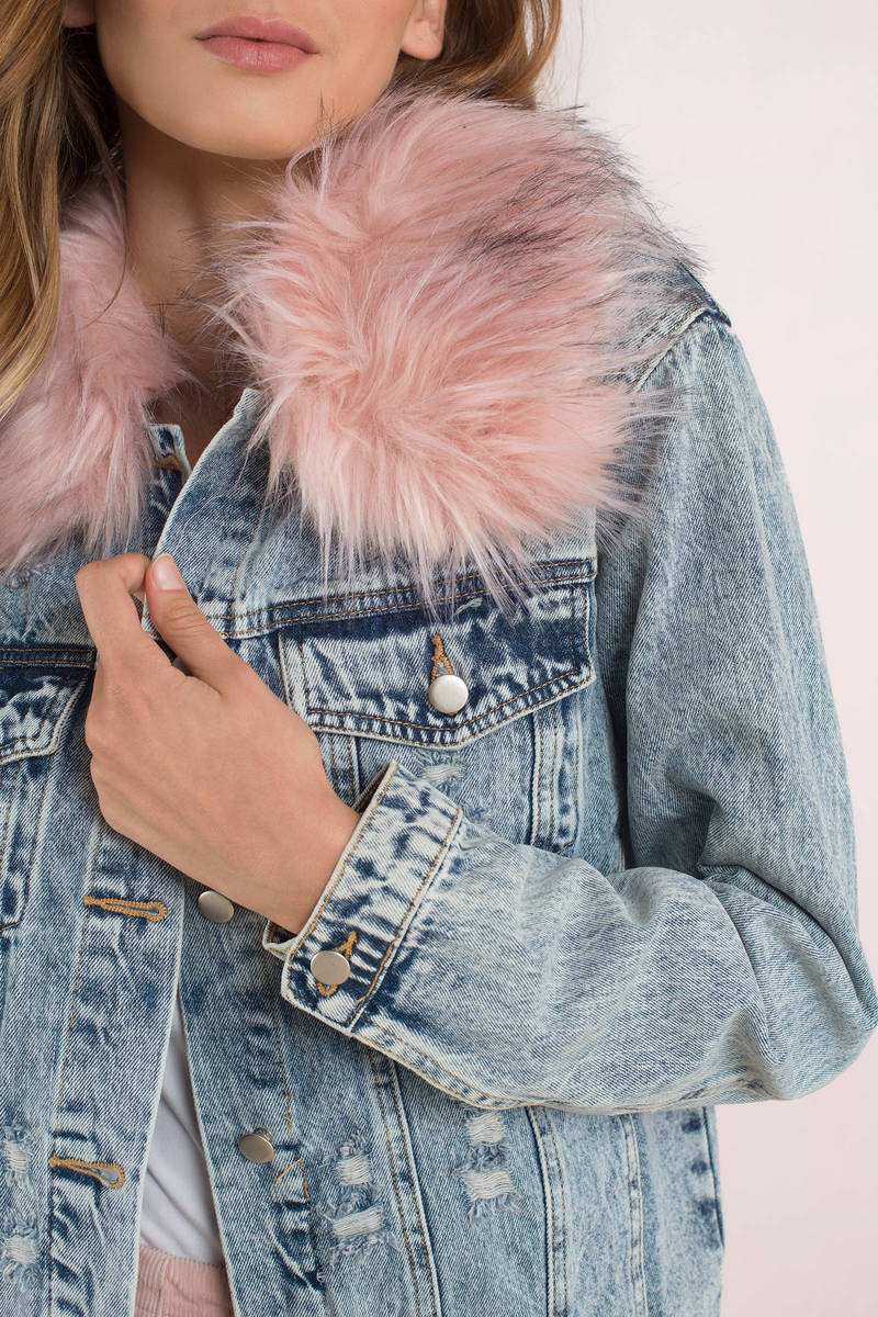 f07c8cd2053c Blue Jacket - Faux Fur Lined Denim Jacket - Blue Acid Wash Denim ...