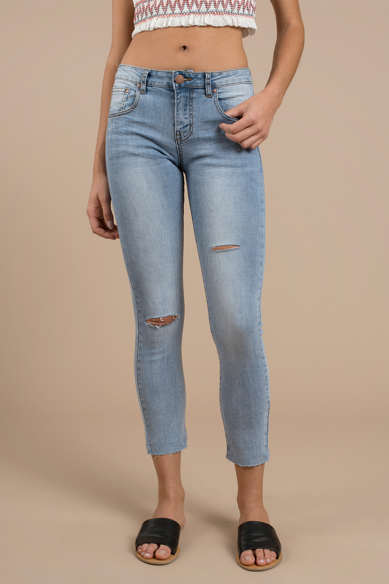 Jefferson Light Wash Mid Rise Distressed Skinny Jean
