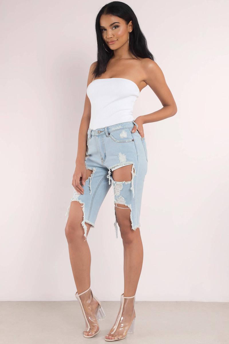 7434eeccfc Blue Shorts - Distressed Bermuda Shorts - Blue Denim Shorts - $28 ...