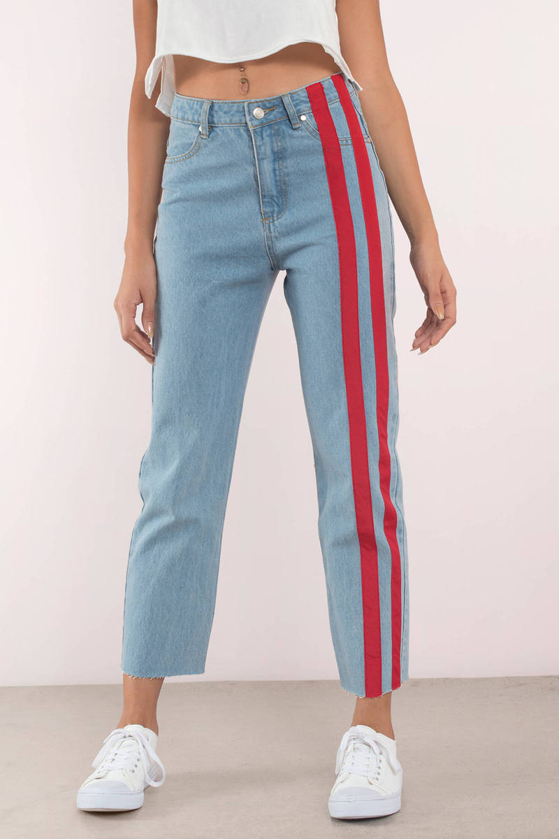 Stripe Down Light Wash Denim Pants - 49  Tobi Us-9939
