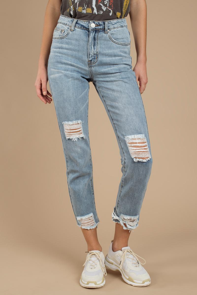 d746445ea1178 Blue Jeans - Torn Light Wash Jeans - Blue Ripped Denim Jeans - $24 ...