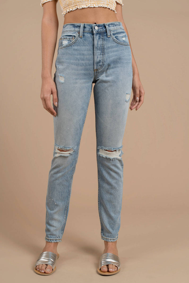 9fe422eb300 Blue Boyish Jeans Pants - Mom Jeans - Blue High Waist Jeans - AU ...